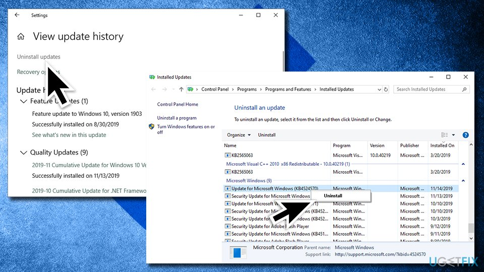 Uninstall windows updates