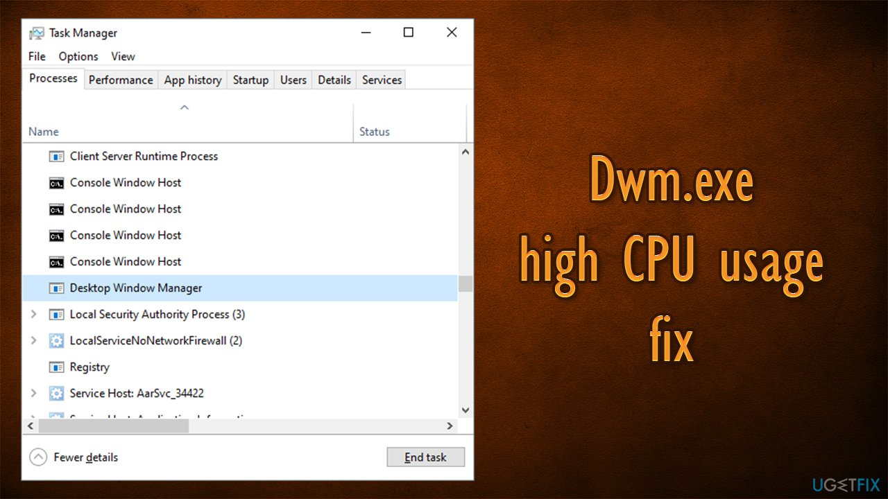 How to fix high CPU usage by dwm.exe on Windows 10?