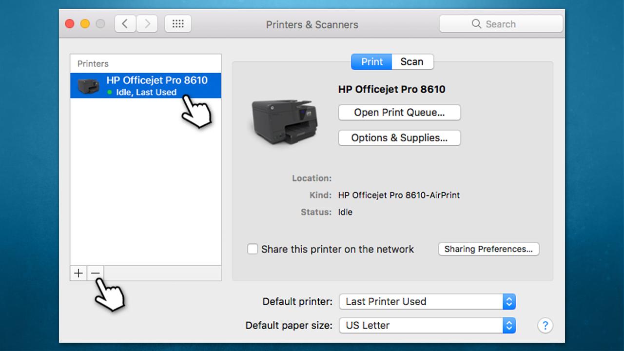 """Press the """"-"""" to remove printer"""