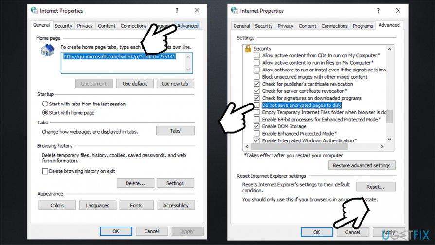 Restore advanced settings in Internet Options