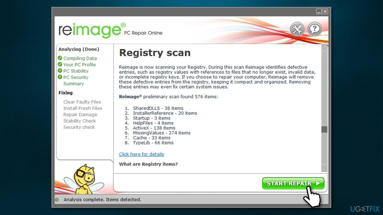 Run PC repair software