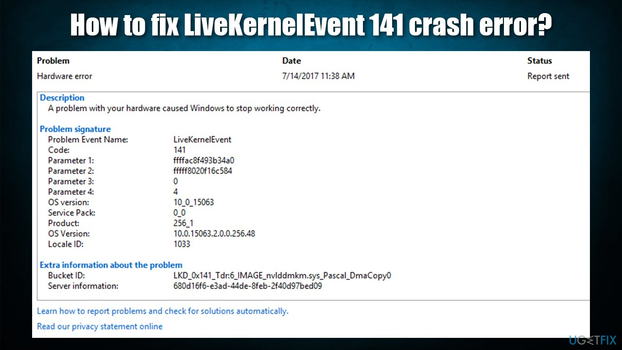 How to fix LiveKernelEvent 141 crash error?