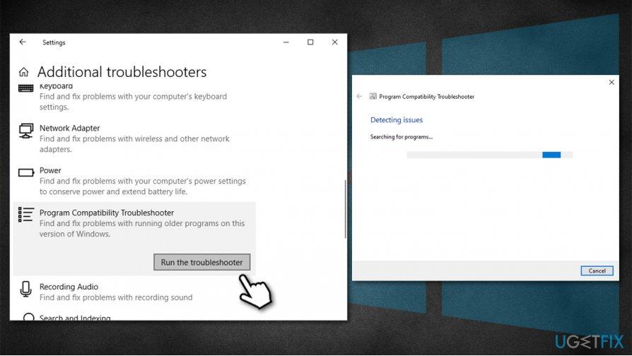 Run program compatibility troubleshooter