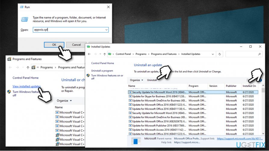 Uninstall faulty Windows updates