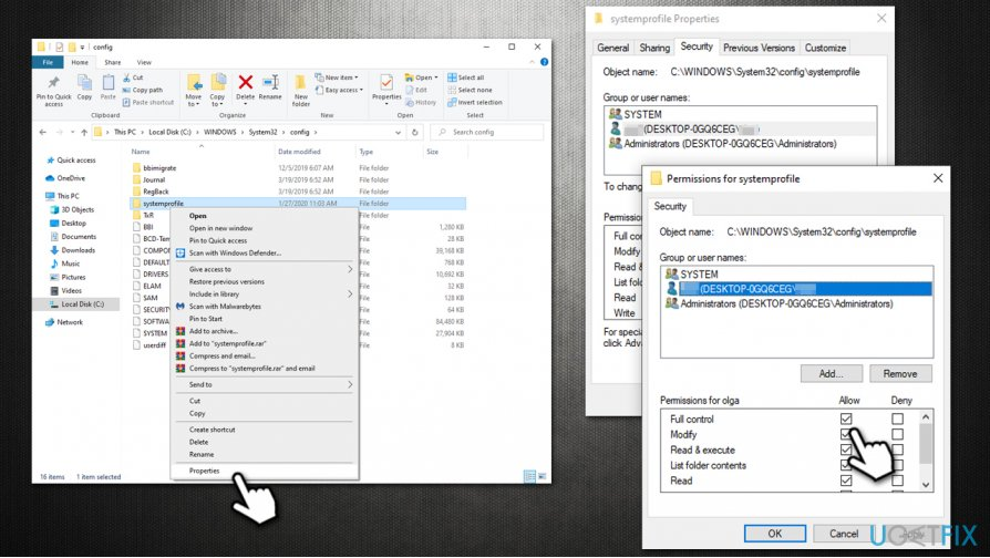 Give folder full control