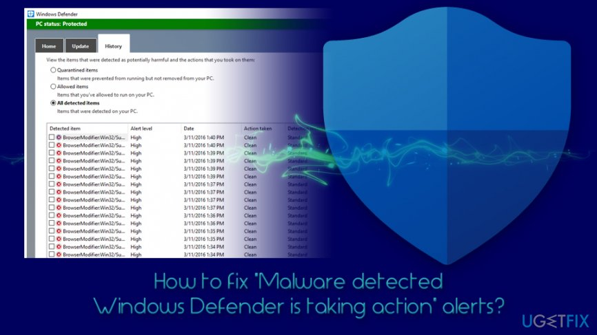 "How to fix ""Malware detected Windows Defender is taking action"" alerts?"