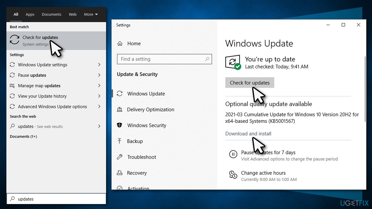 Update Windows and install pending updates