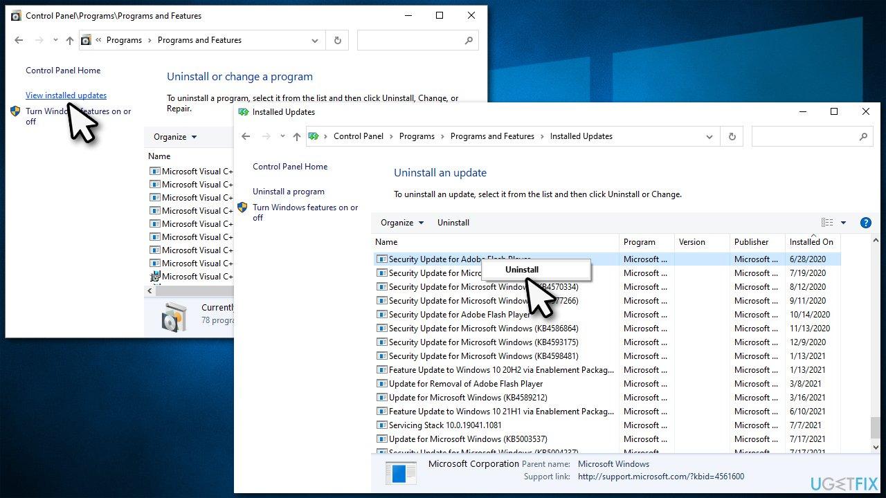 Uninstall the latest Windows updates