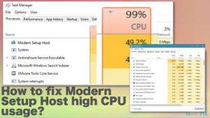 How to fix Modern Setup Host high CPU usage?