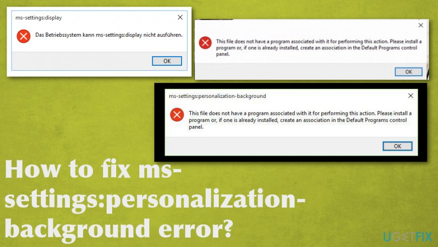 Fix ms-settings:personalization-background error
