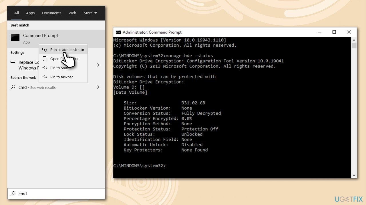 Use CMD to find out about Bitlocker