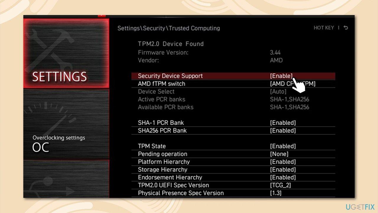 Disable fTPM via BIOS