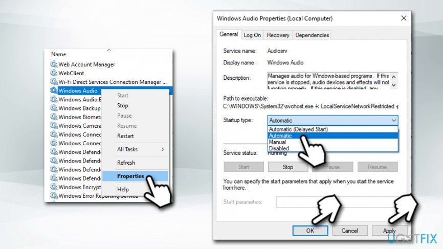 Set  Windows Audio service to automatic
