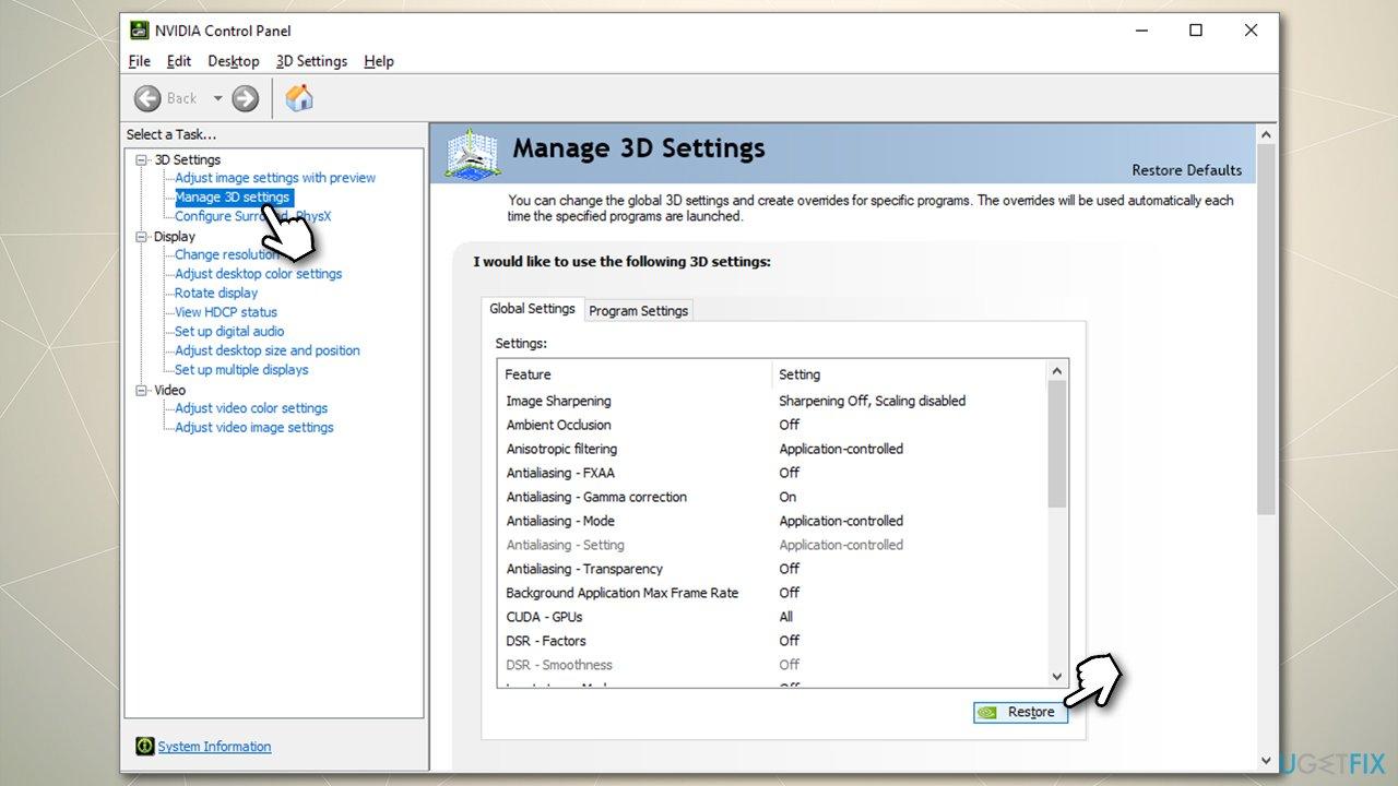 Reset Nvidia Control Panel Settings