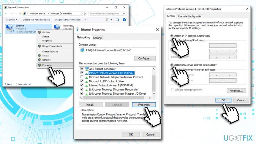 Obtain DNS settings automatically