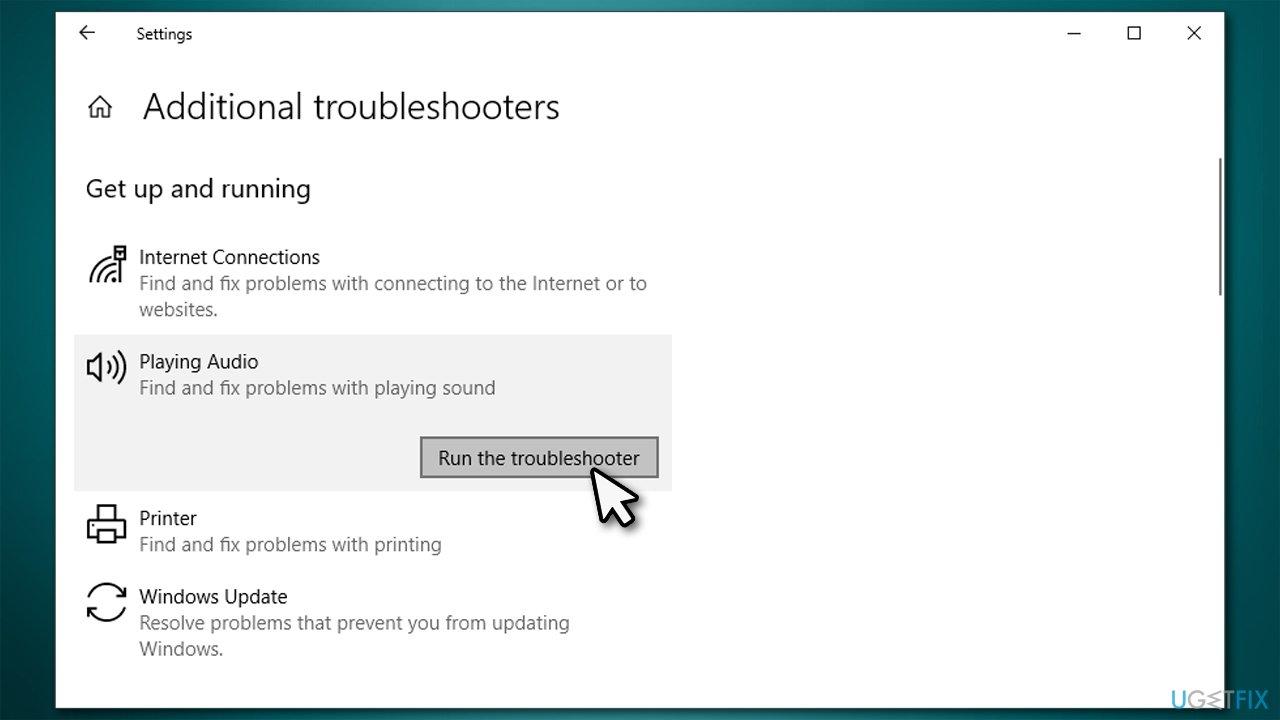 Run Sound troubleshooter