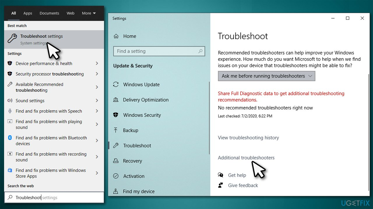 Select Additional troubleshooters