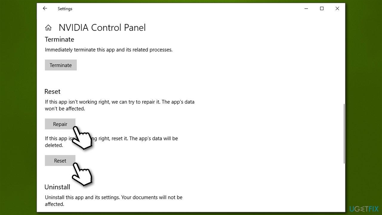 Reset and Repair Nvidia Control Panel