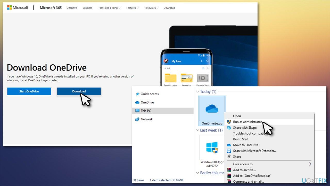 Run OneDrive setup as administrator