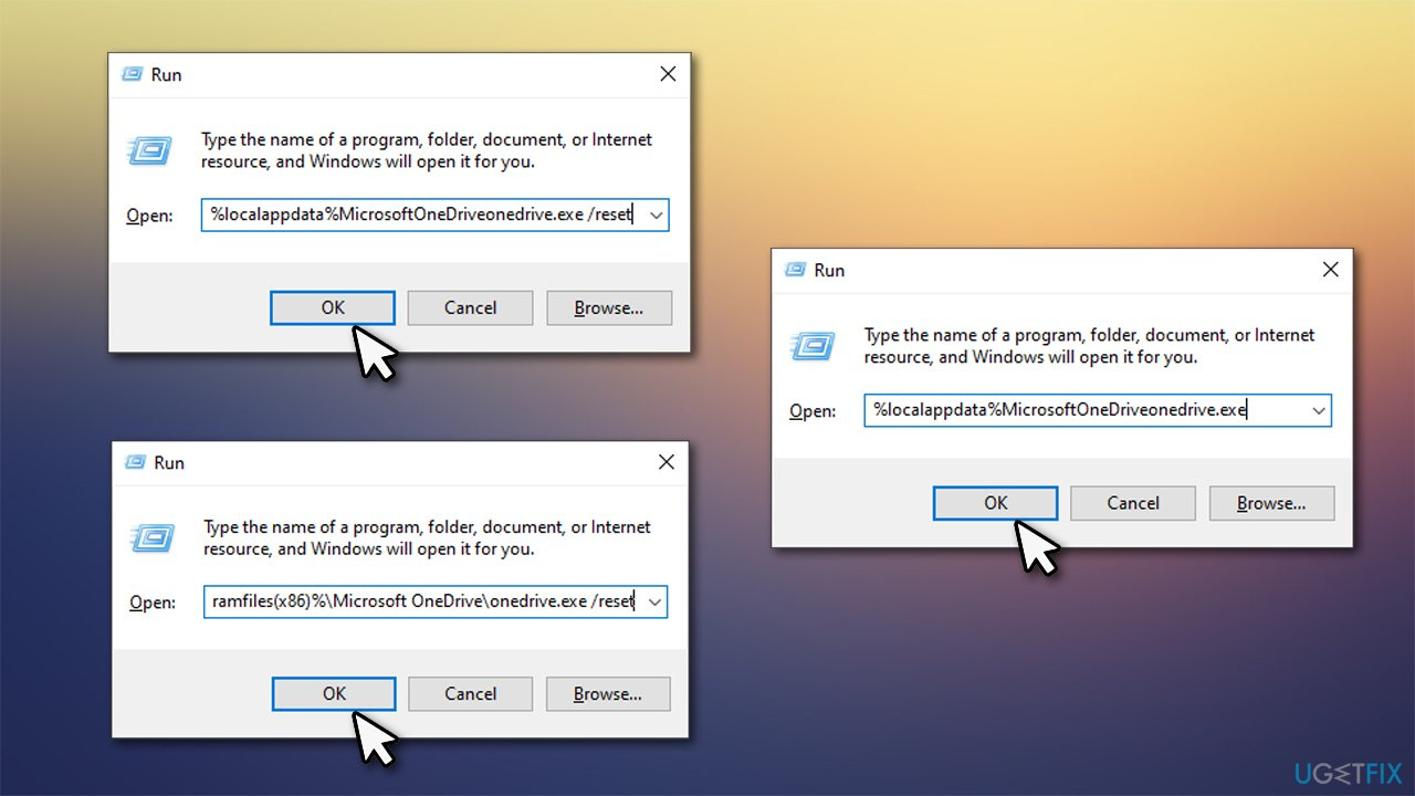 Reset OneDrive using these commands