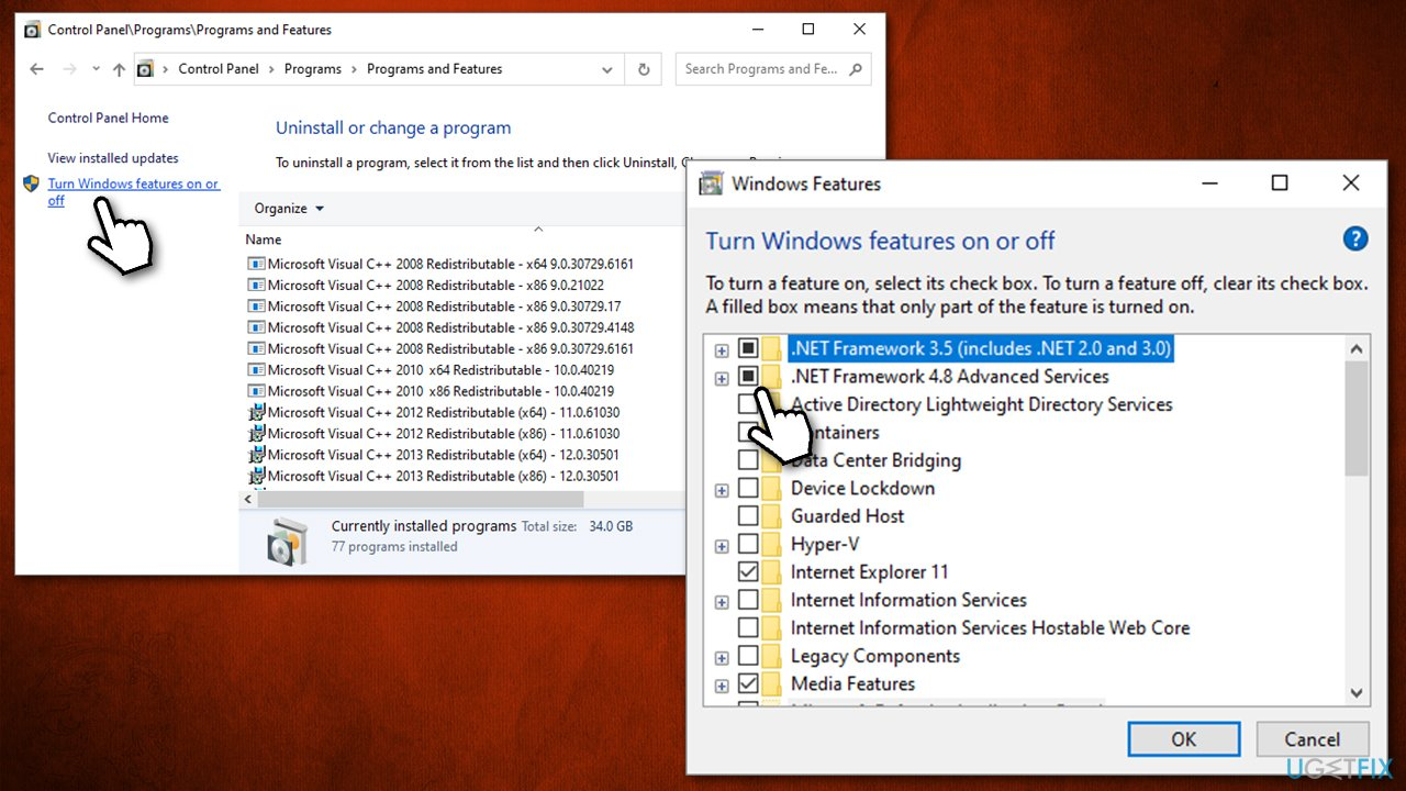 Ensure NET Framework is enabled