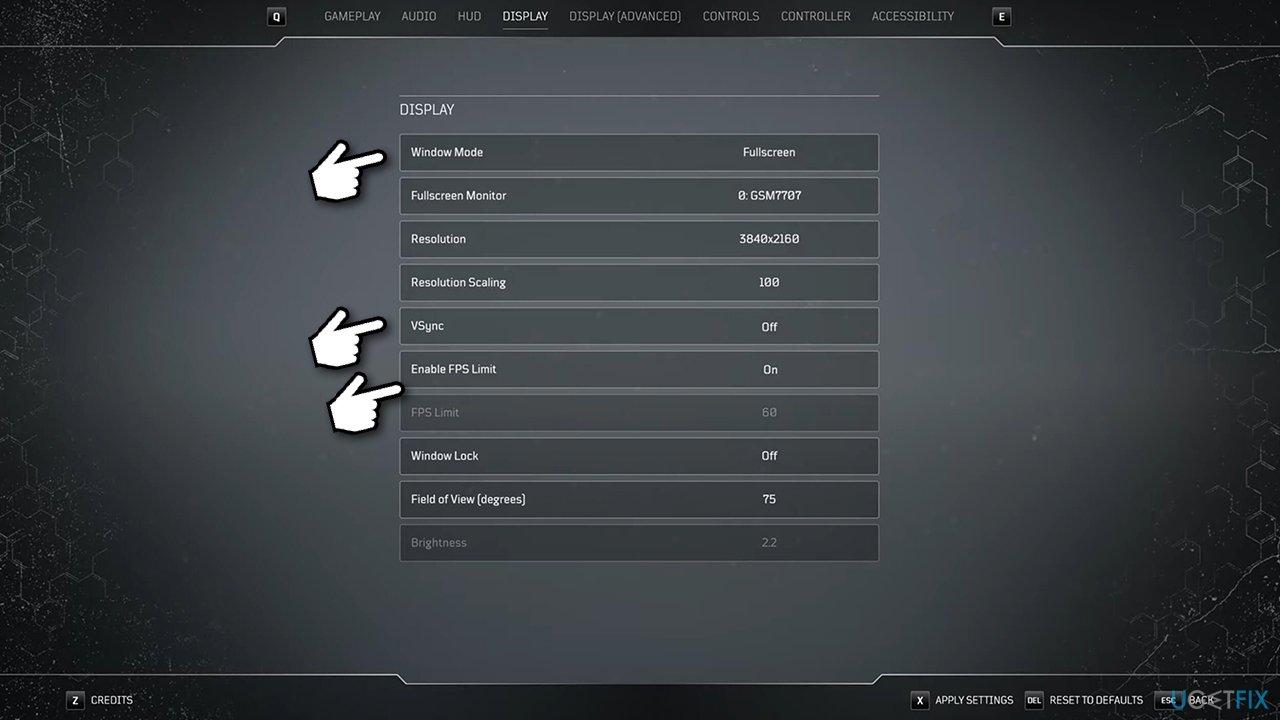 Tweak in-game settings