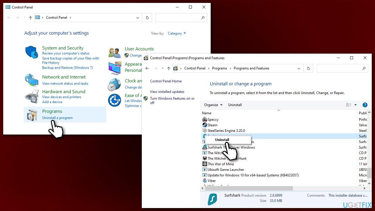 Uninstall third-party antivirus software
