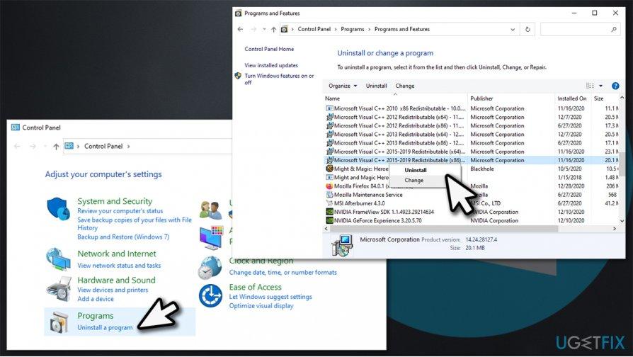 Reinstall Microsoft Visual C++ Redistributable