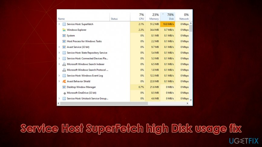 Service Host SuperFetch high Disk usage: how to disable SuperFetch?