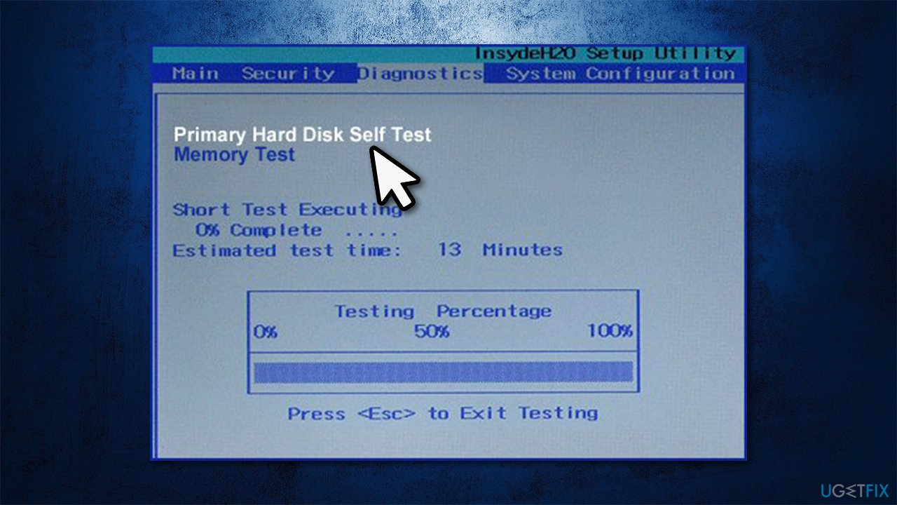 Test hard disk from the BIOS