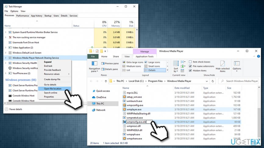 Open Task Manager Windows Media Player Network Sharing Service