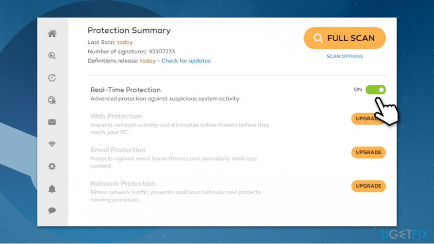 Disable antivirus real-time protection