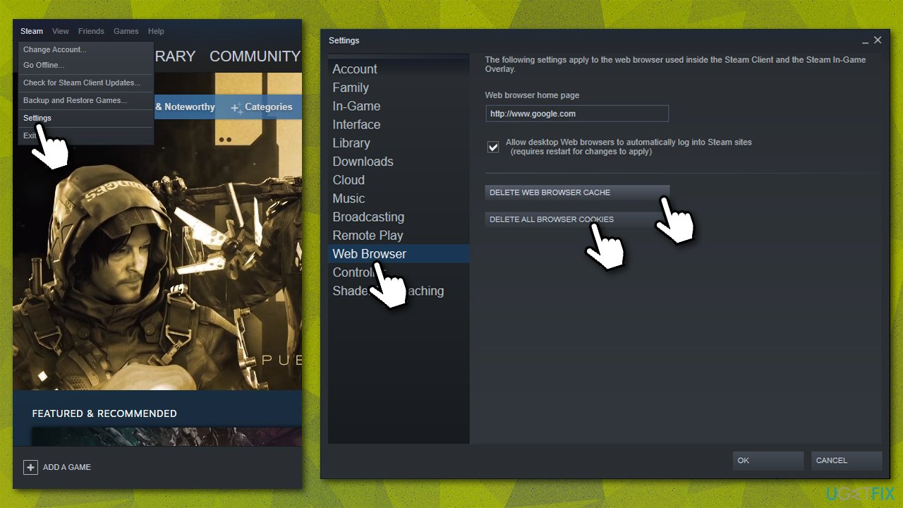 Delete cache and cookies via the Steam client