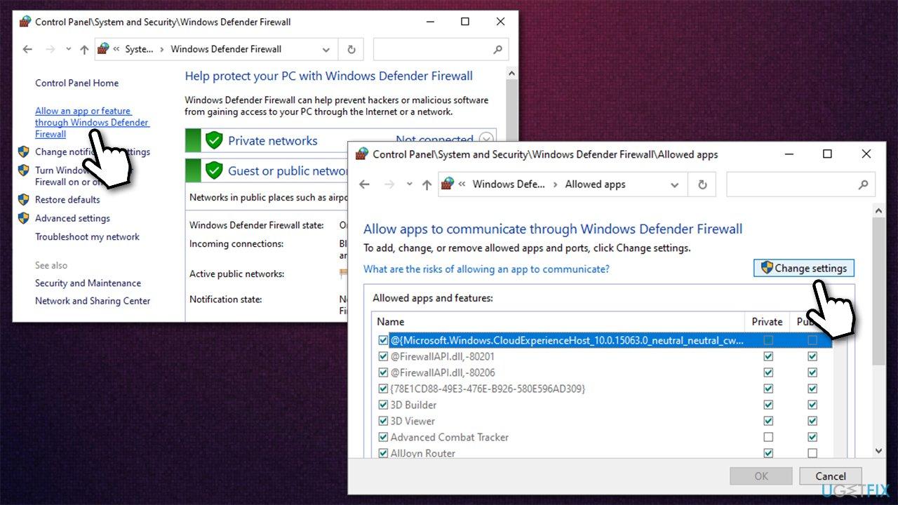 Enable Firewall settings edit