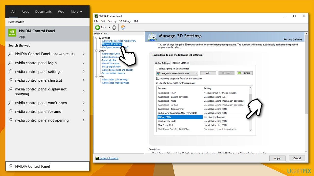 Change Nvidia panel settings