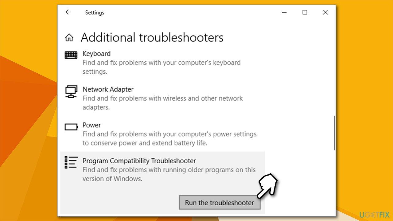 Run troubleshooter