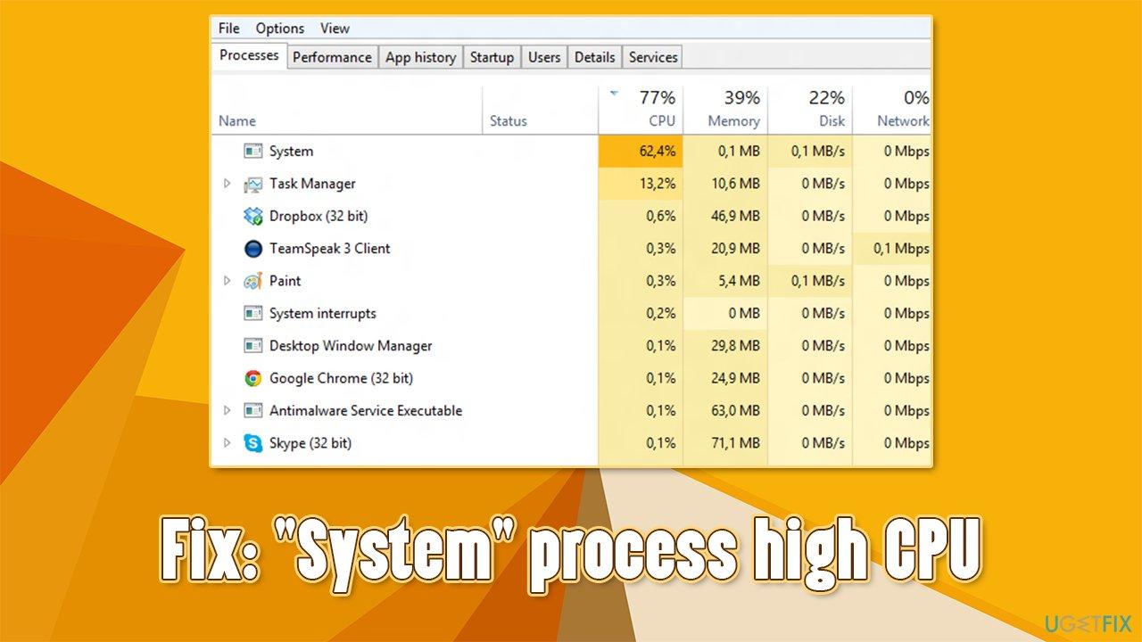 """""""System"""" process high CPU fix"""