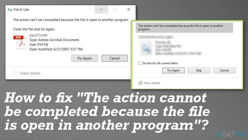 """The action cannot be completed because the file is open in another program"" error fix"