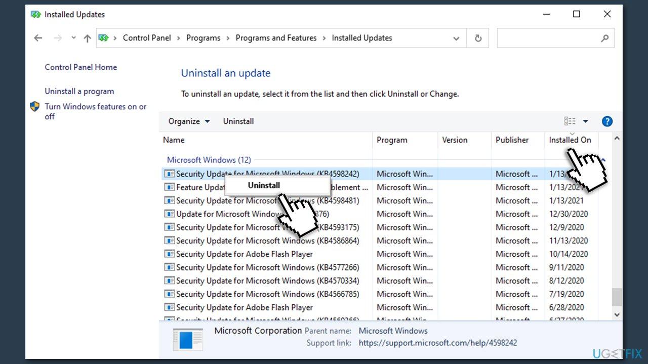Uninstall latest Windows updates via control panel