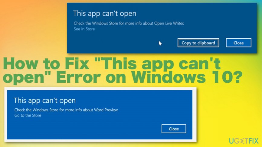 """This app can't open"" error"