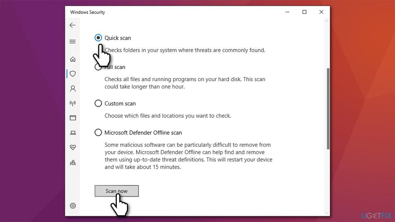 Perform Microsoft offline scan