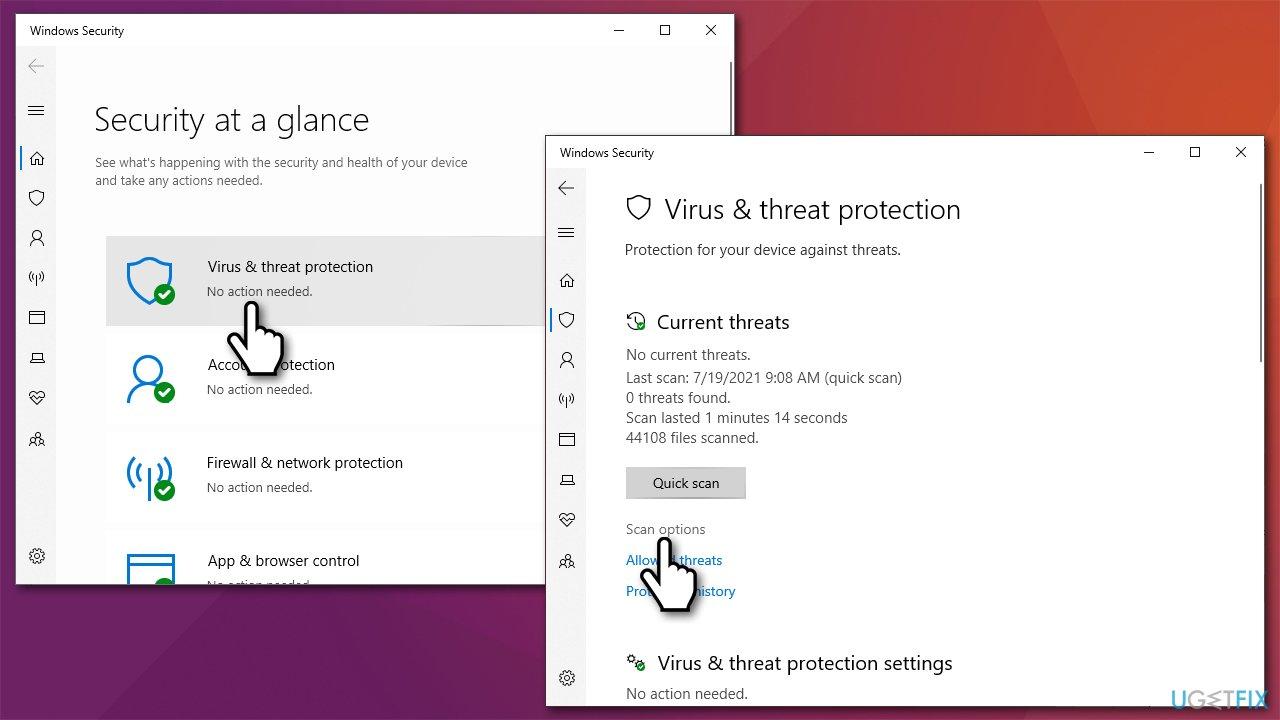 Go to Windows security