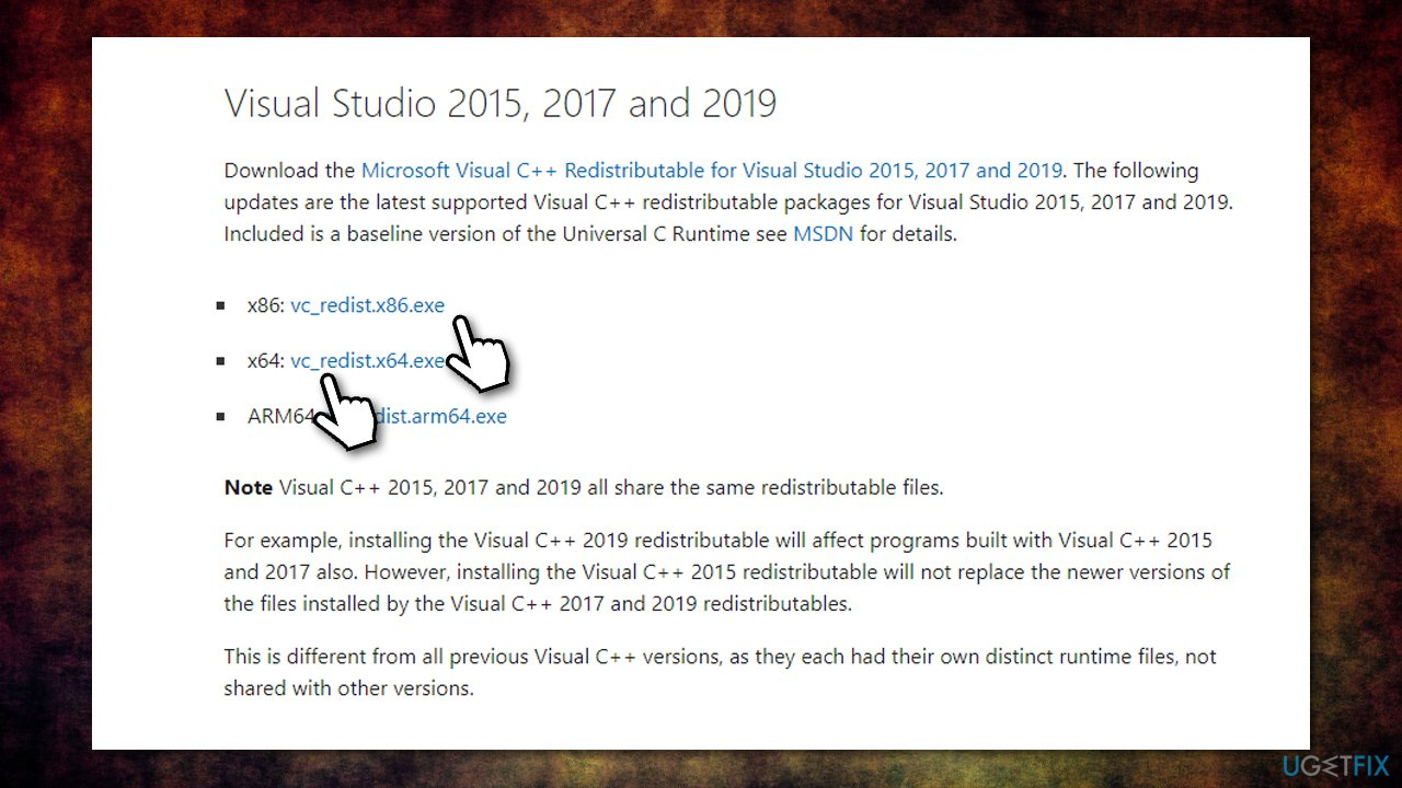 Download Visual C++ package
