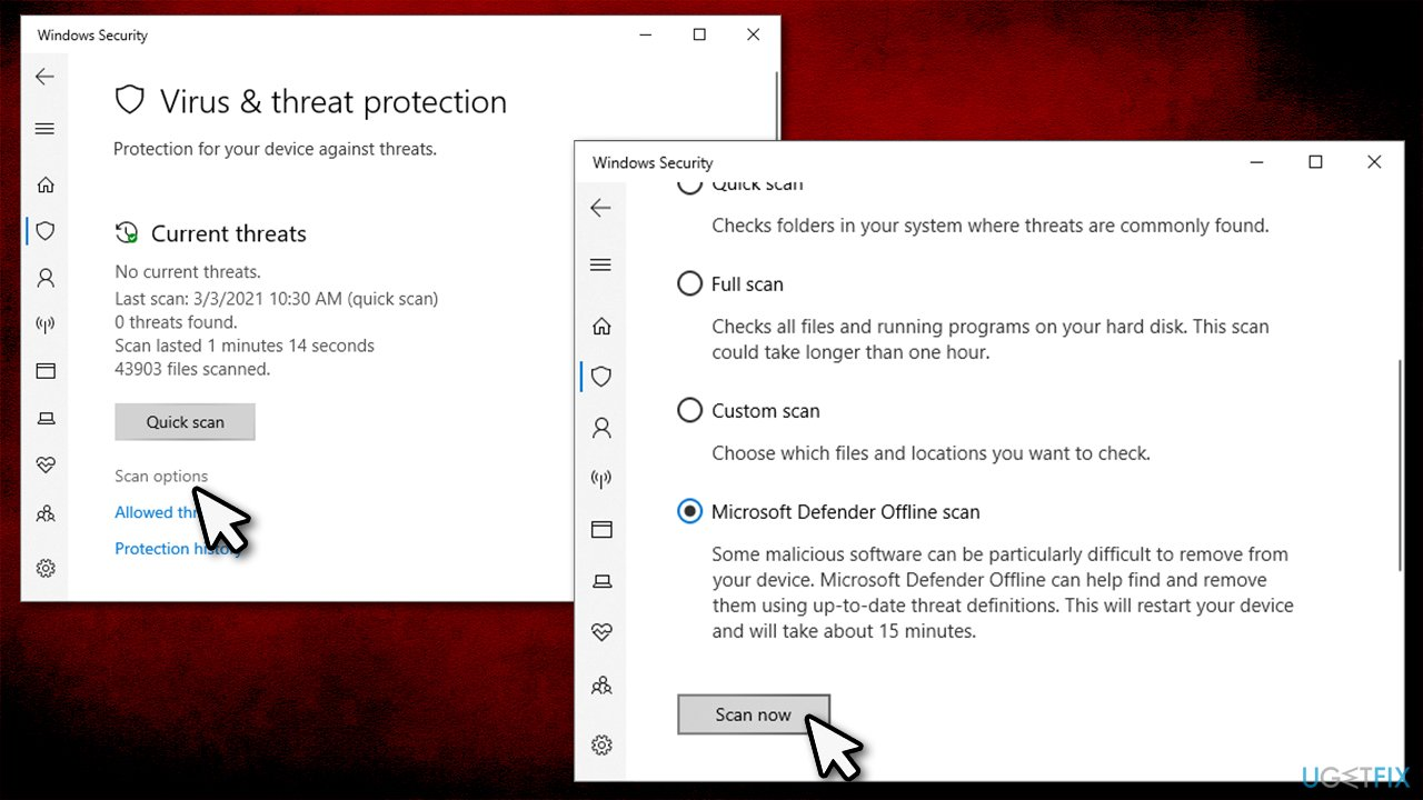 Scan PC for malware