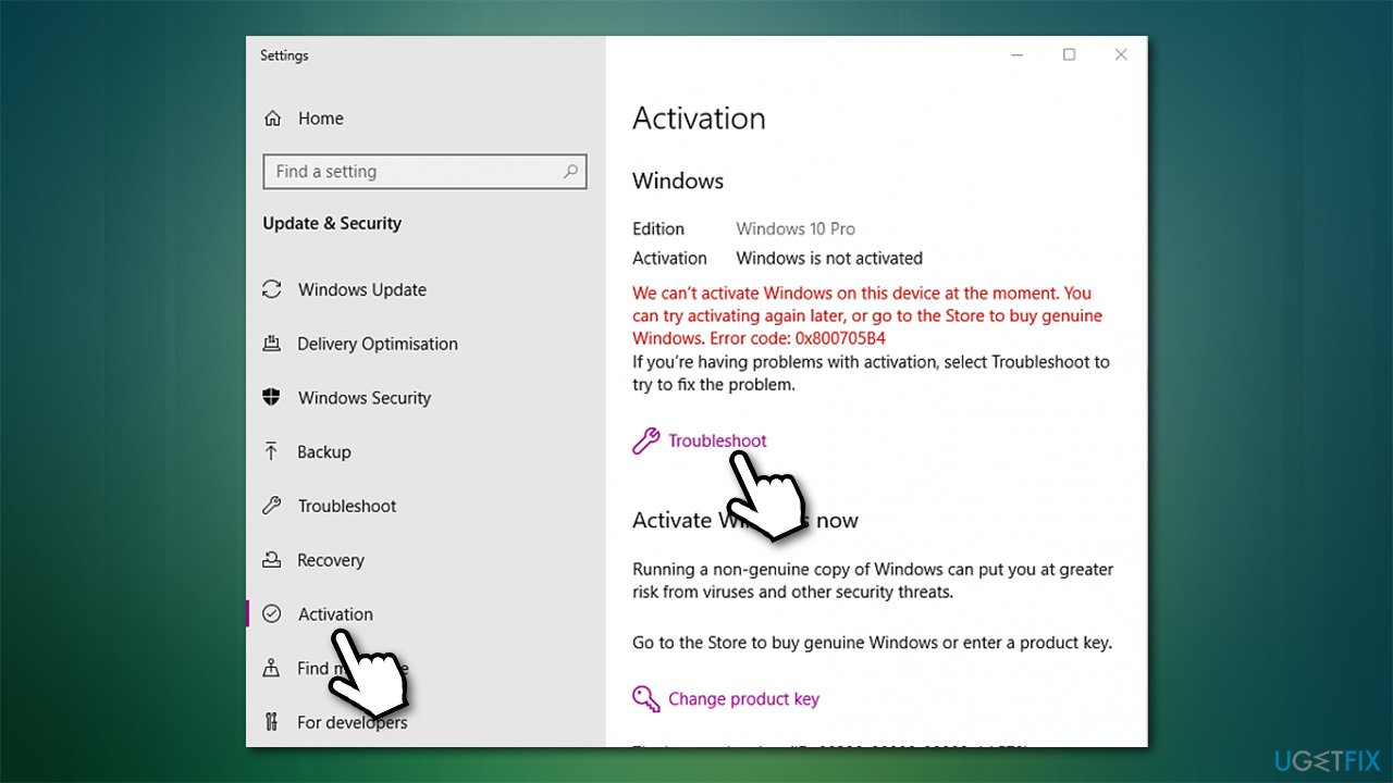 Use activation troubleshooter