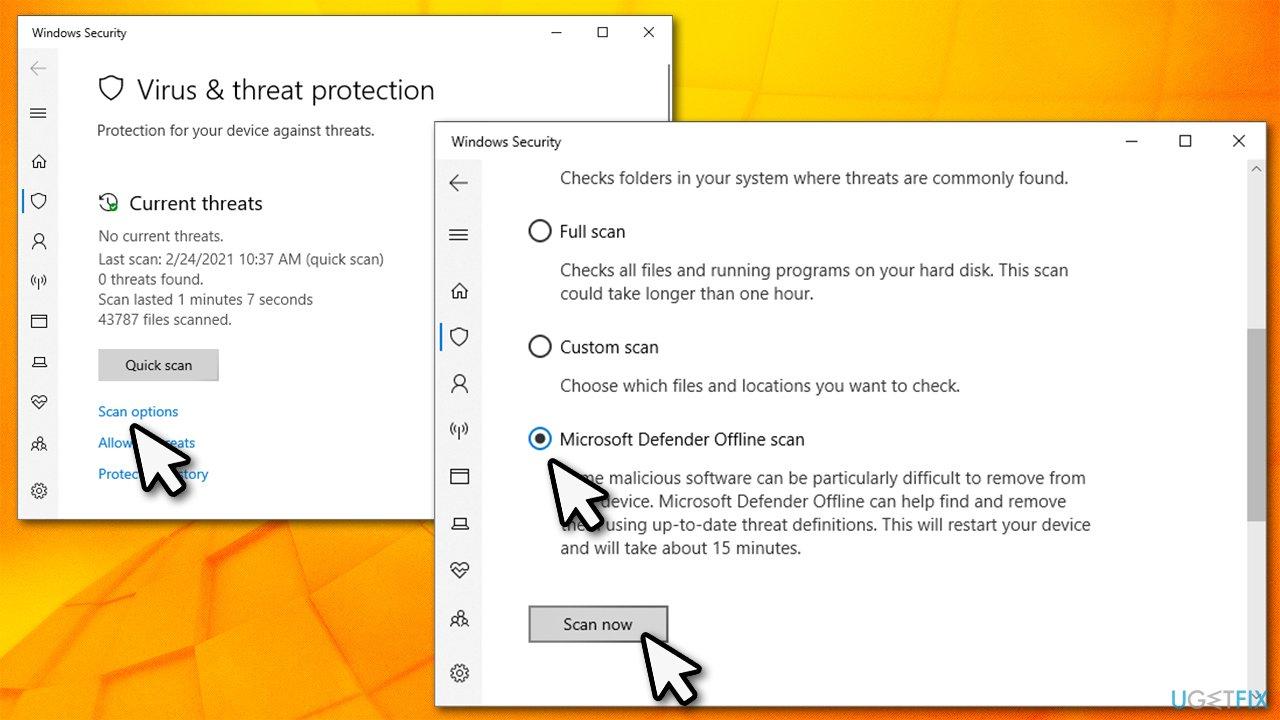 Perform Windows Defender Offline scan