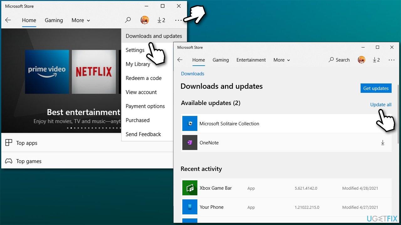 Install Windows store updates
