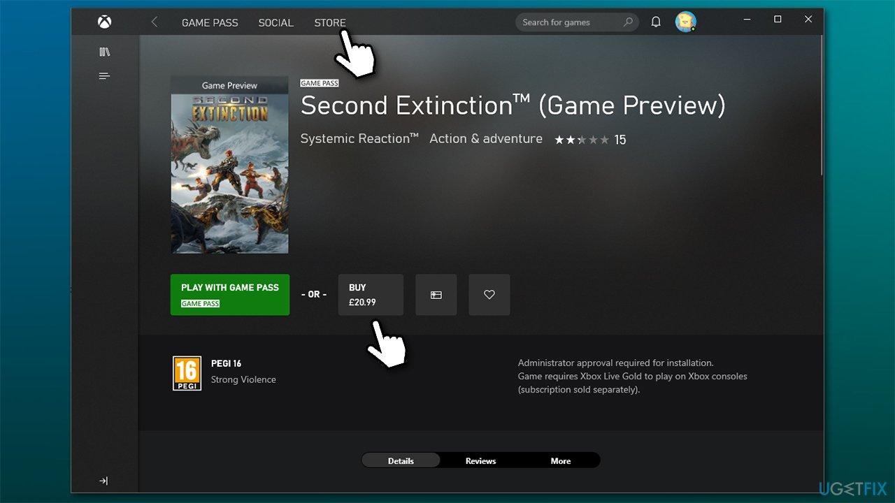 Download through Xbox app