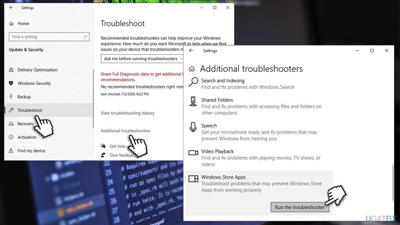 Run Windows Store Troubleshooter