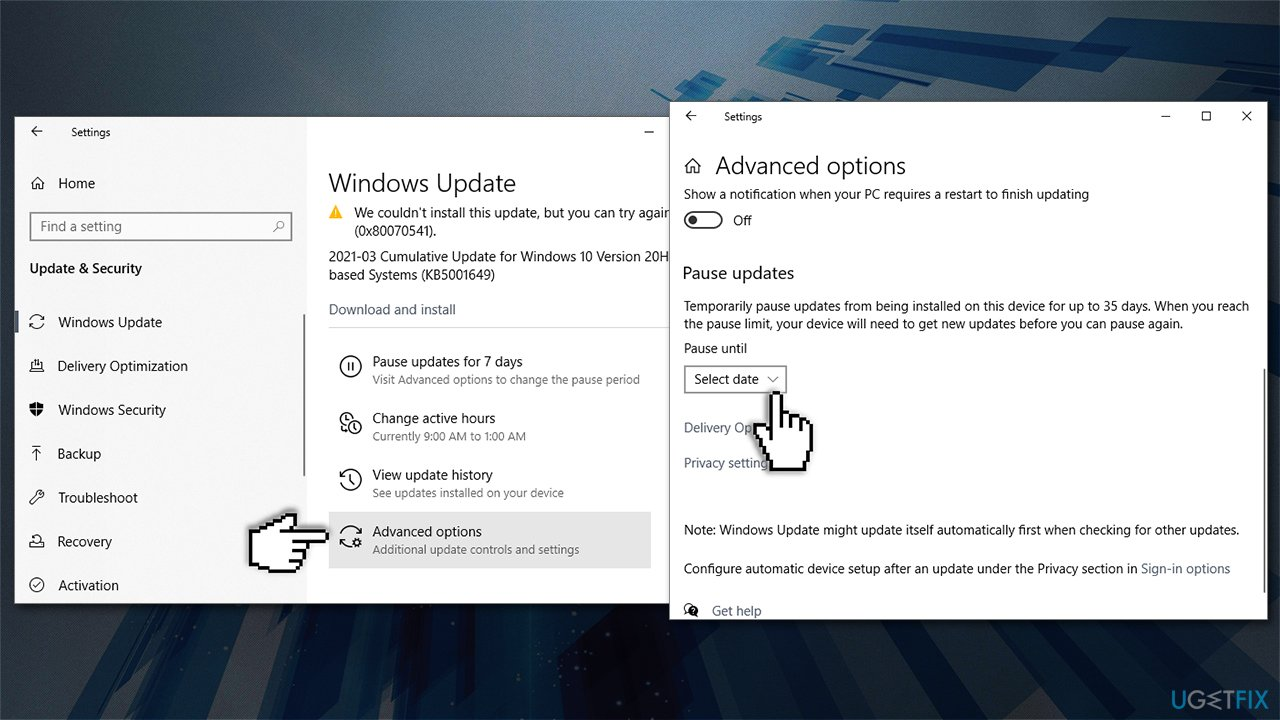 Go to Advanced update options